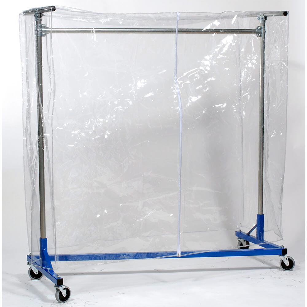 quality fabricators vinyl garment rack cover with zipper fits 48 long x 60 high racks clear 100460