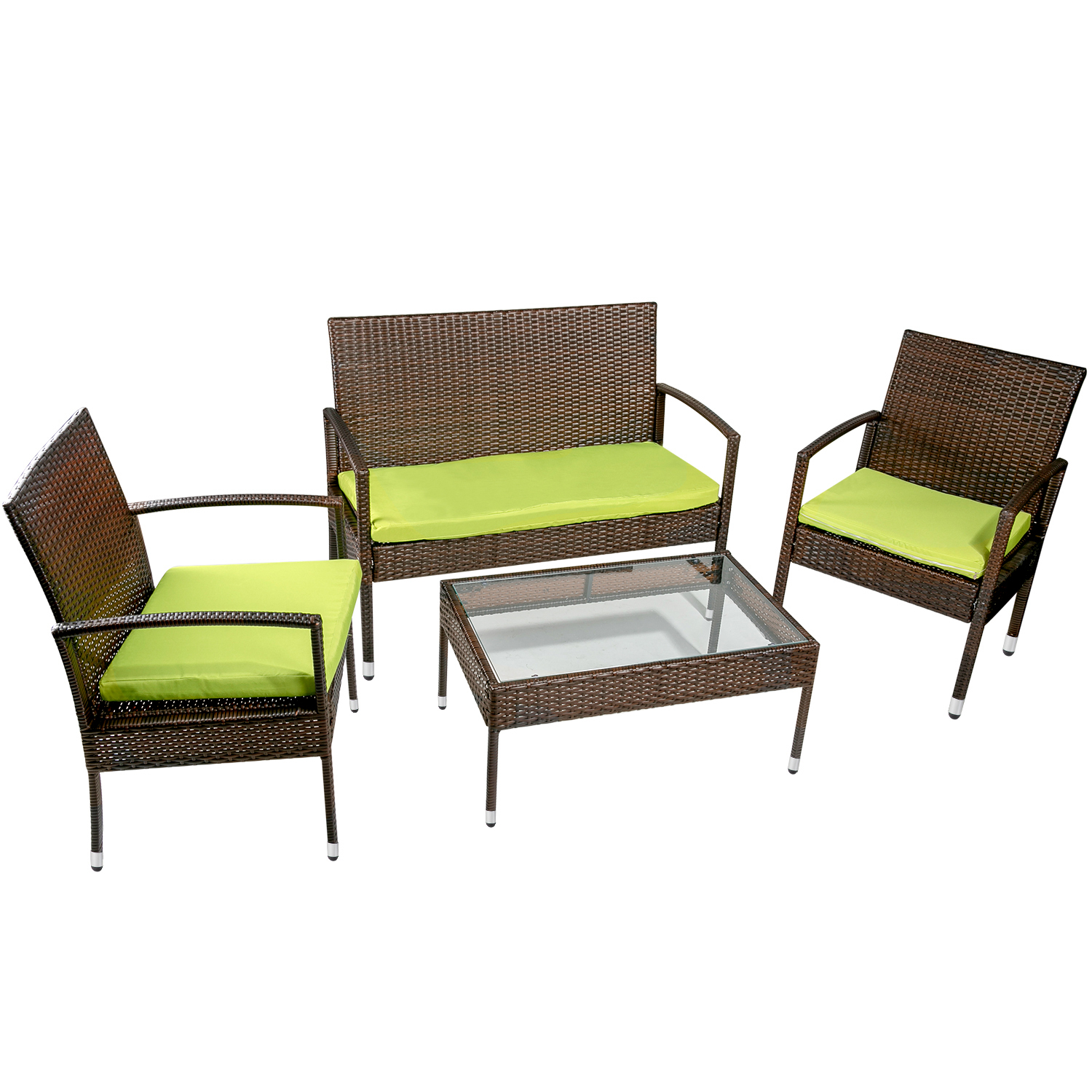 green wicker patio furniture sets for deck 2021 upgrade 4 piece wicker patio conversation furniture set w loveseat seats 2 armchair sofas coffee