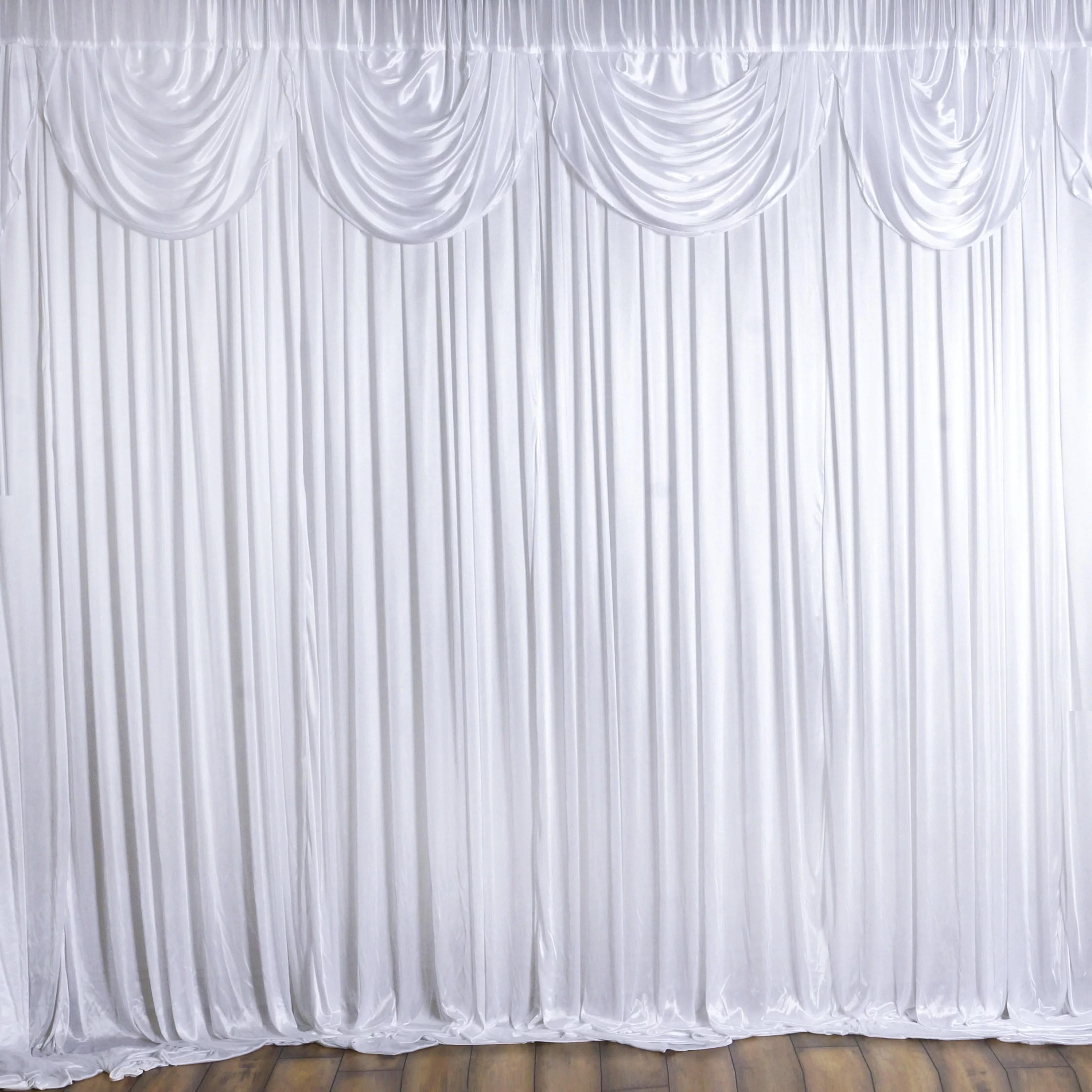 balsacircle white 20 feet x 10 feet decorative draping backdrop curtain wedding party photobooth ceremony event photo decorations walmart com