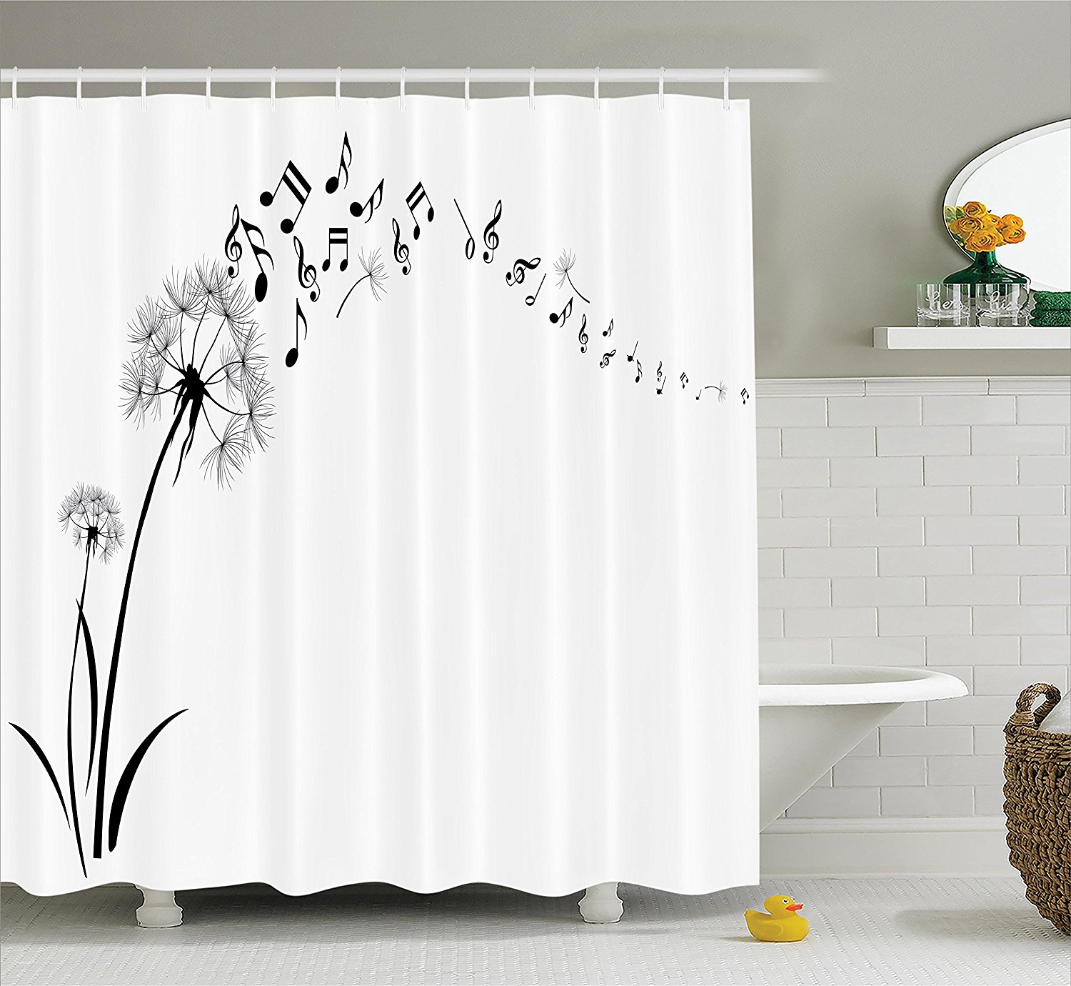 floral shower curtain set music decor by dandelion with flying music notes summer garden art print bathroom accessories with hooks 69w x by