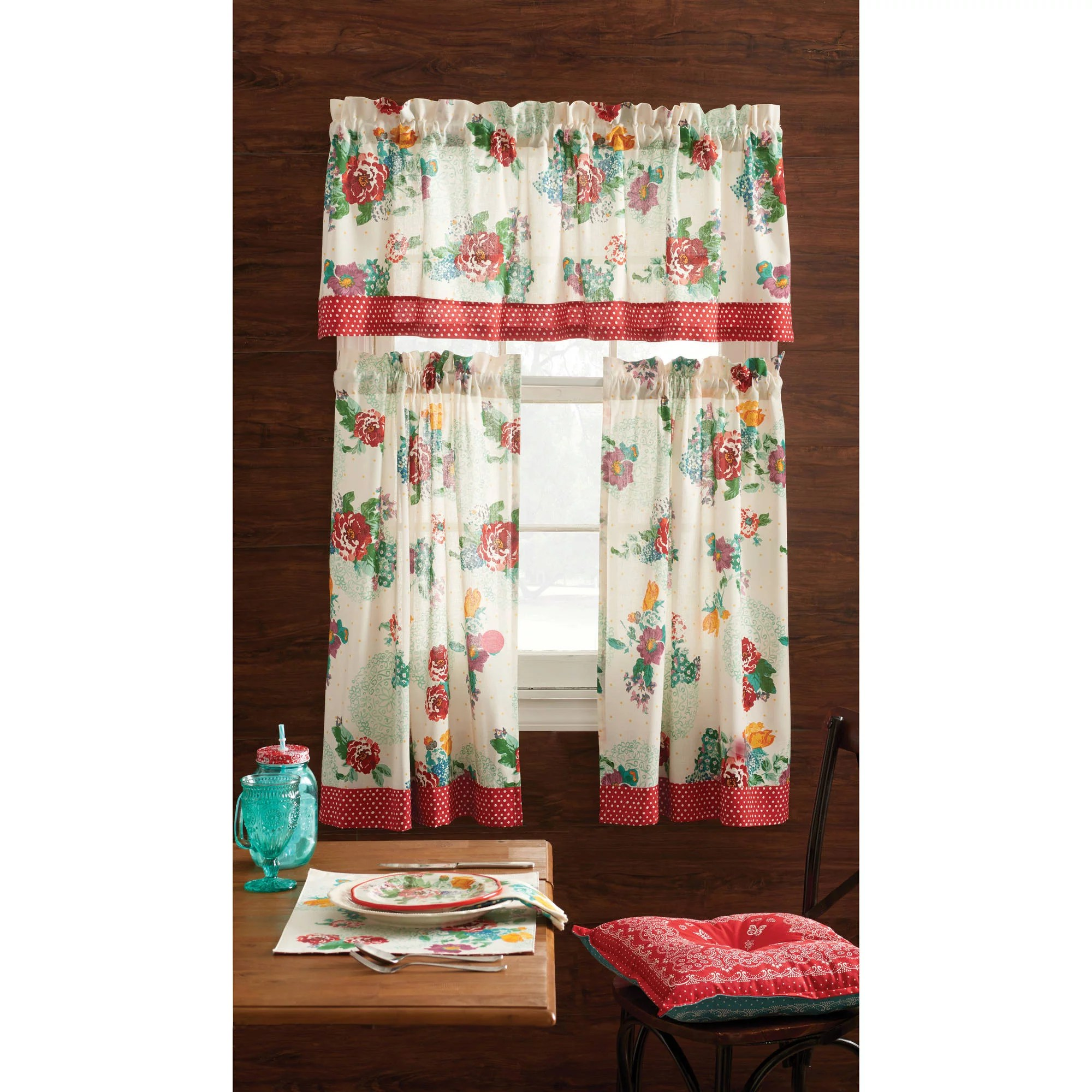 3 Pc Country Apple Decor Cafe Curtain Set Valance Panels Kitchen Red Apple Decor