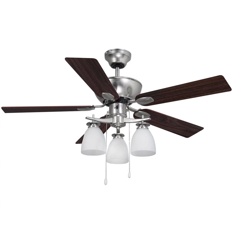 Ceiling Fan 42 Indoor Dual Mount 3 Light 5 Reversible Blades White Or Walnut Nickel Finish Walmart Com Walmart Com