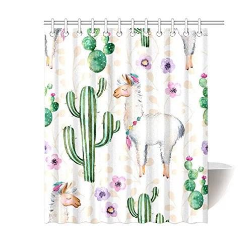 mkhert cactus llama shower curtain bath curtain waterproof fabric polyester curtains 60x72 inch