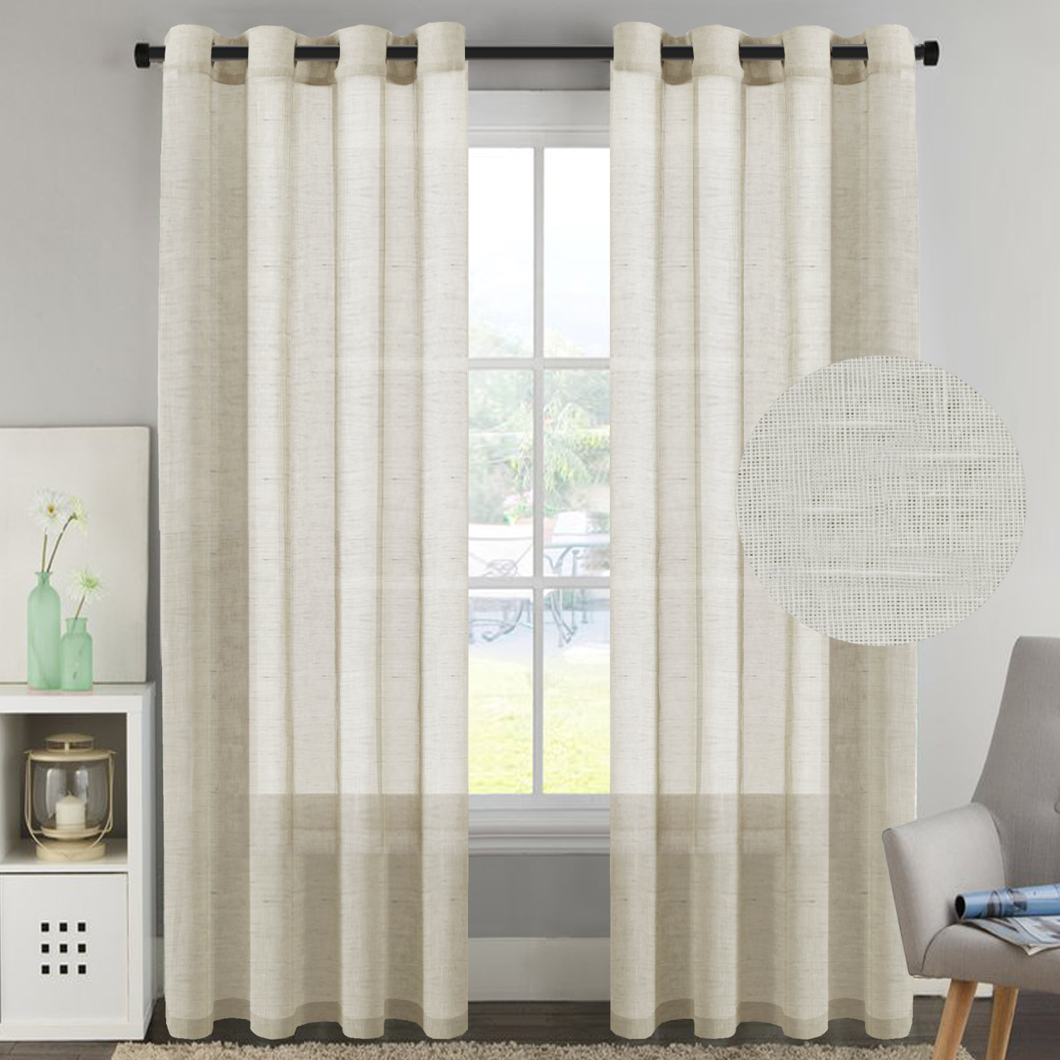 h versailtex 52 inch width by 96 inch length linen and poly curtain sheers for living room nickel grommet top window panels set of 2 natural