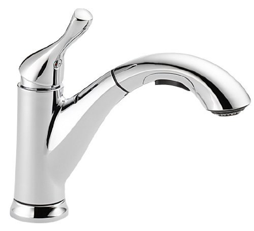 delta faucet grant single handle kitchen sink faucet with pull out sprayer chrome 16953 dst