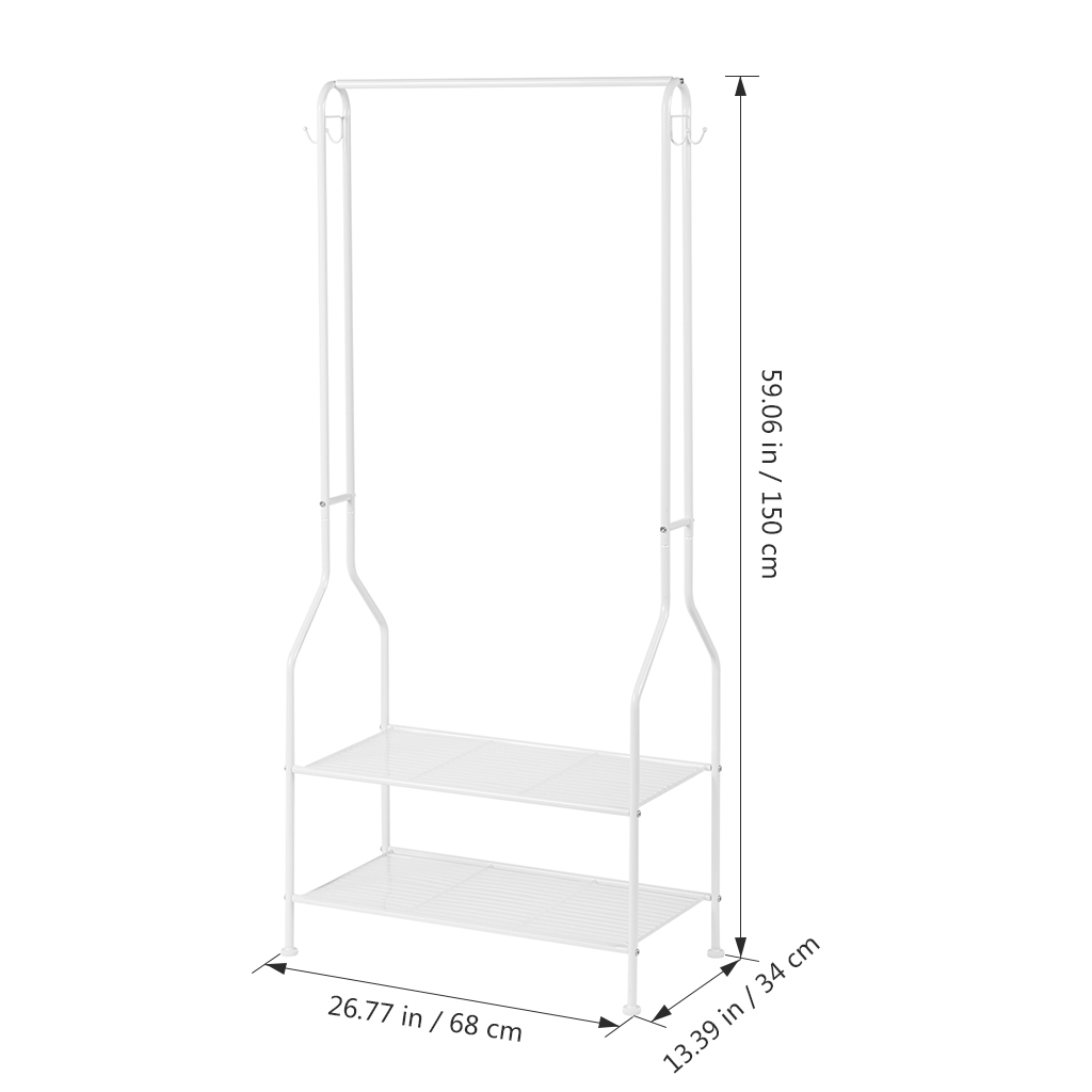langria heavy duty commercial grade clothing garment rack 2 tier entryway metal coat rack and shoe bench storage stand with single rod and 4 hooks