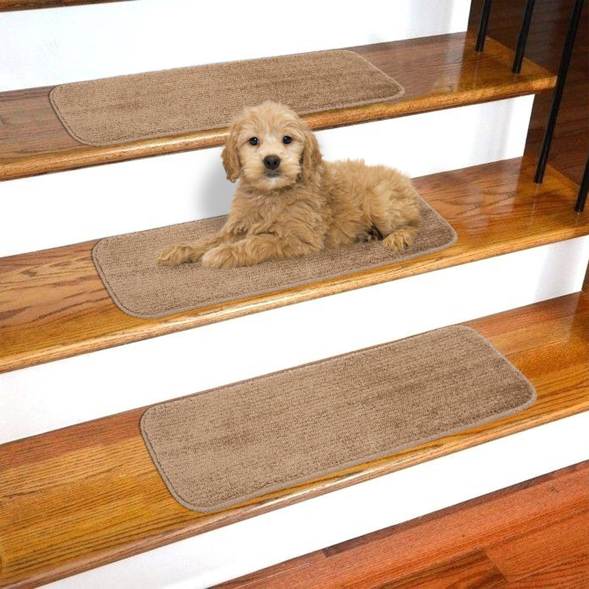 Ottomanson Softy Stair Treads Solid Skid Resistant Rubber Backing | Best Carpet Stair Treads | Rug | Mat | Treads Lowes | Bullnose Stair | Wood Stairs