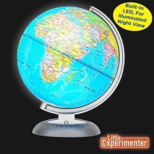 globe terrestre illumine pour enfants avec support del integree pour une vue nocturne eclairee