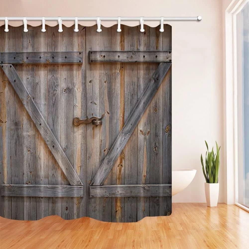 wendana shower curtain rustic farmhouse wooden garage barn door durable fabric bath curtain bathroom accessories ideas hooks included bathroom