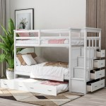 Euroco Twin Over Twin Bunk Bed With Trundle Storage Drawers White Walmart Com Walmart Com