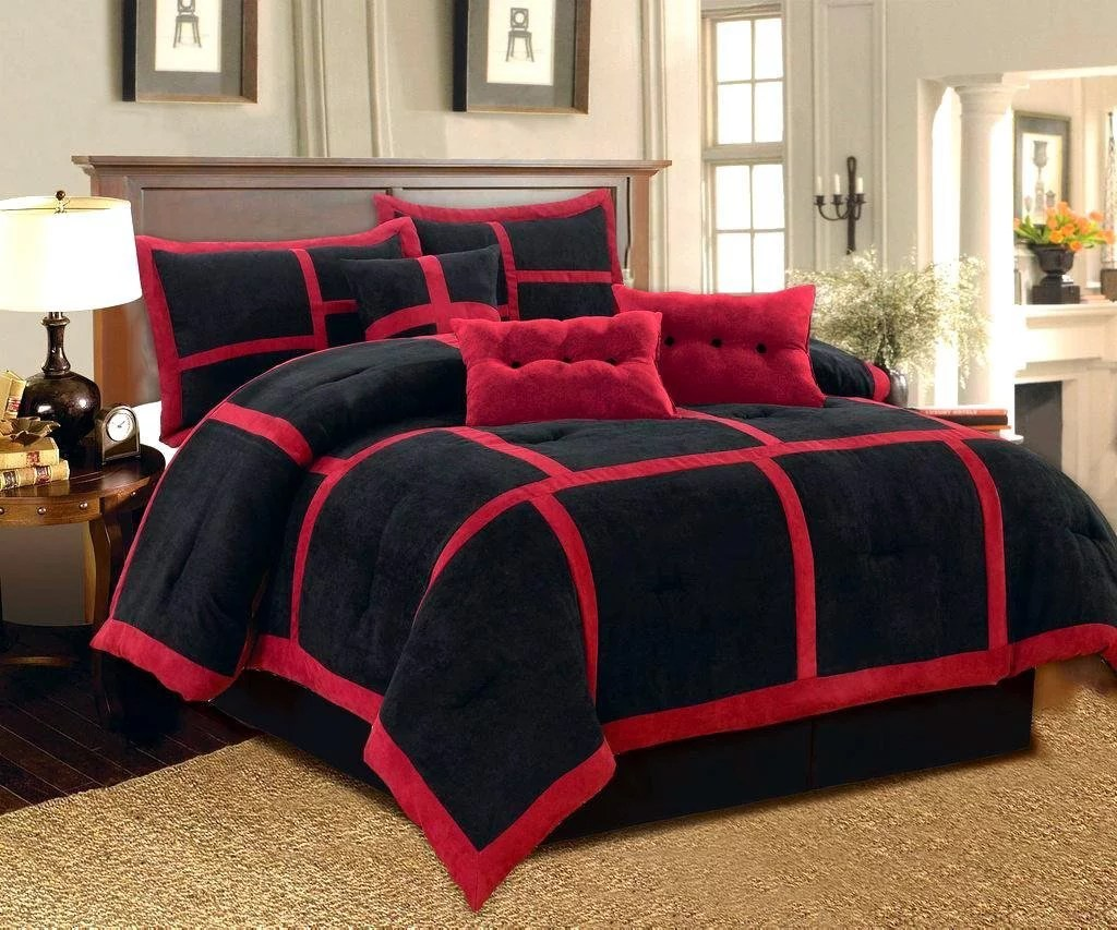 dawn california king size 7 piece micro suede comforter bedding set soft patchwork oversized bed in a bag black red walmart com
