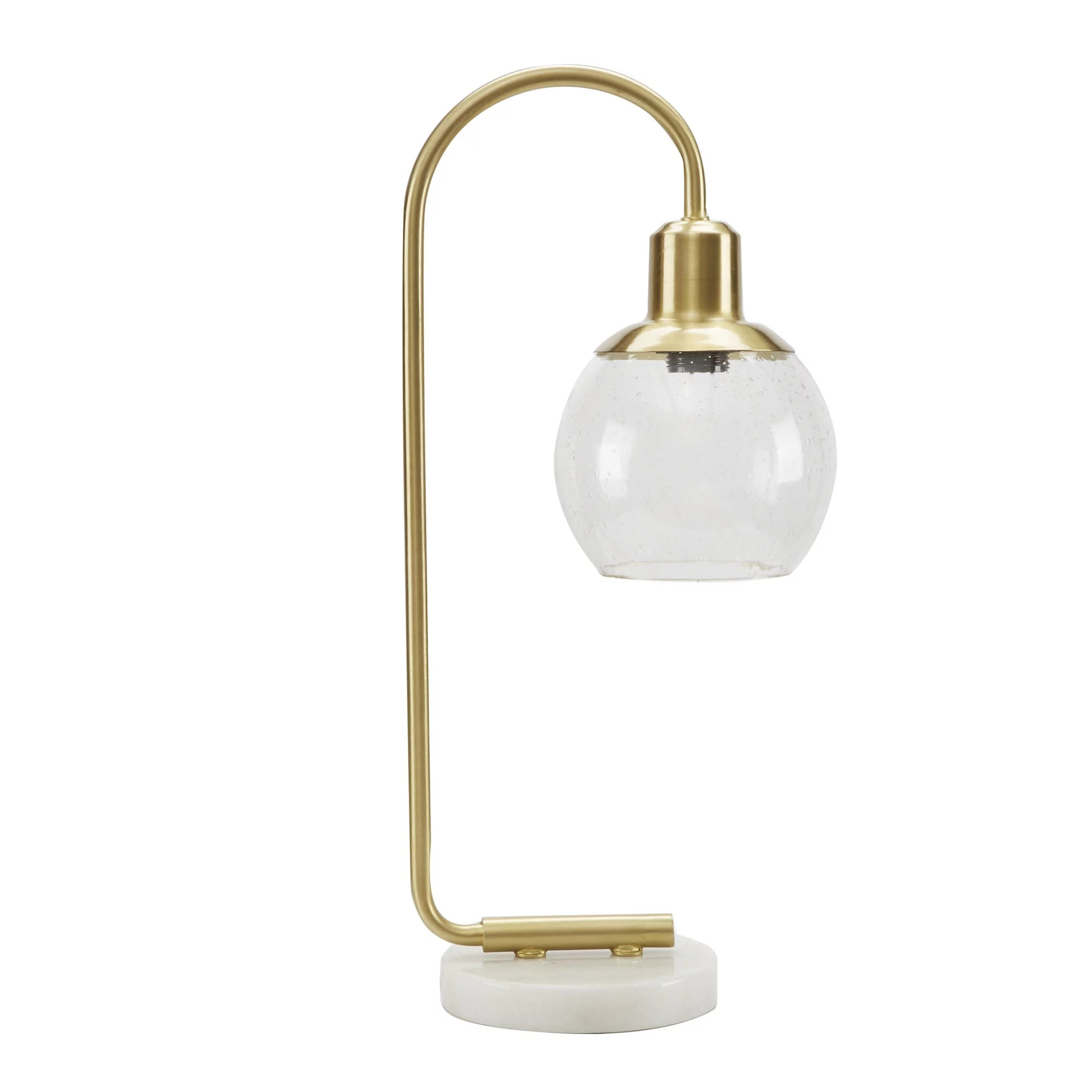 Better Homes Gardens Real Marble Table Lamp Brushed Brass Finish Walmart Com Walmart Com
