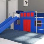 Dhp Junior Silver Loft Bed With Blue Slide And Blue Curtain Set Kid S Bundle Twin Walmart Com Walmart Com