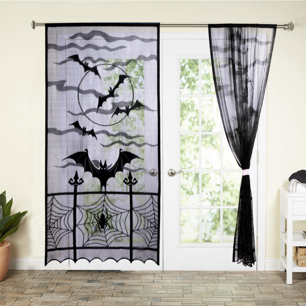 lifemadesimple black lace curtains with bat and spider web halloween decoration 2 panel set 84 inches by 40 inches
