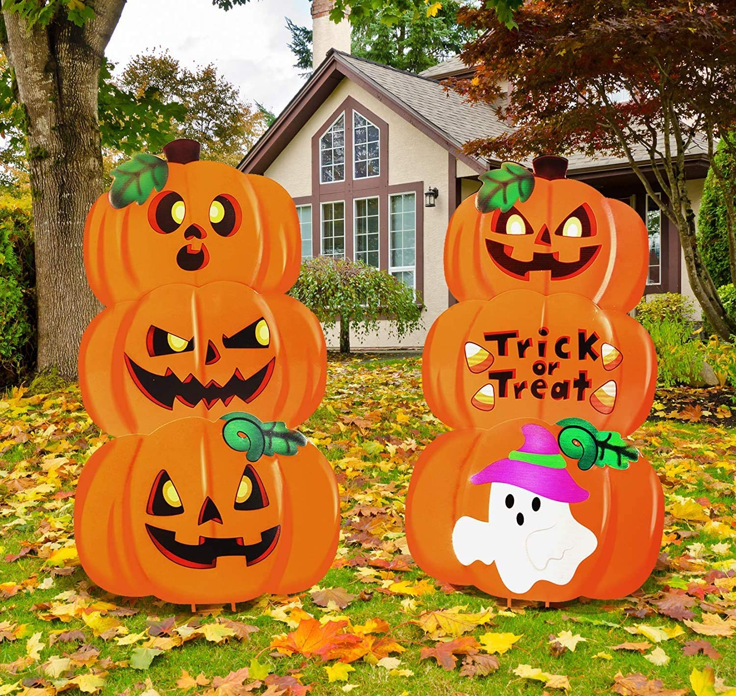 From scary outdoor halloween decorations like this ferris wheel to realistic skeletons, a collection of these decorations serve a purpose indoors and out. DecorX 2 Set Metal Halloween Pumpkin & Ghost Lawn Yard Stake Signs Outdoor Decorations for ...