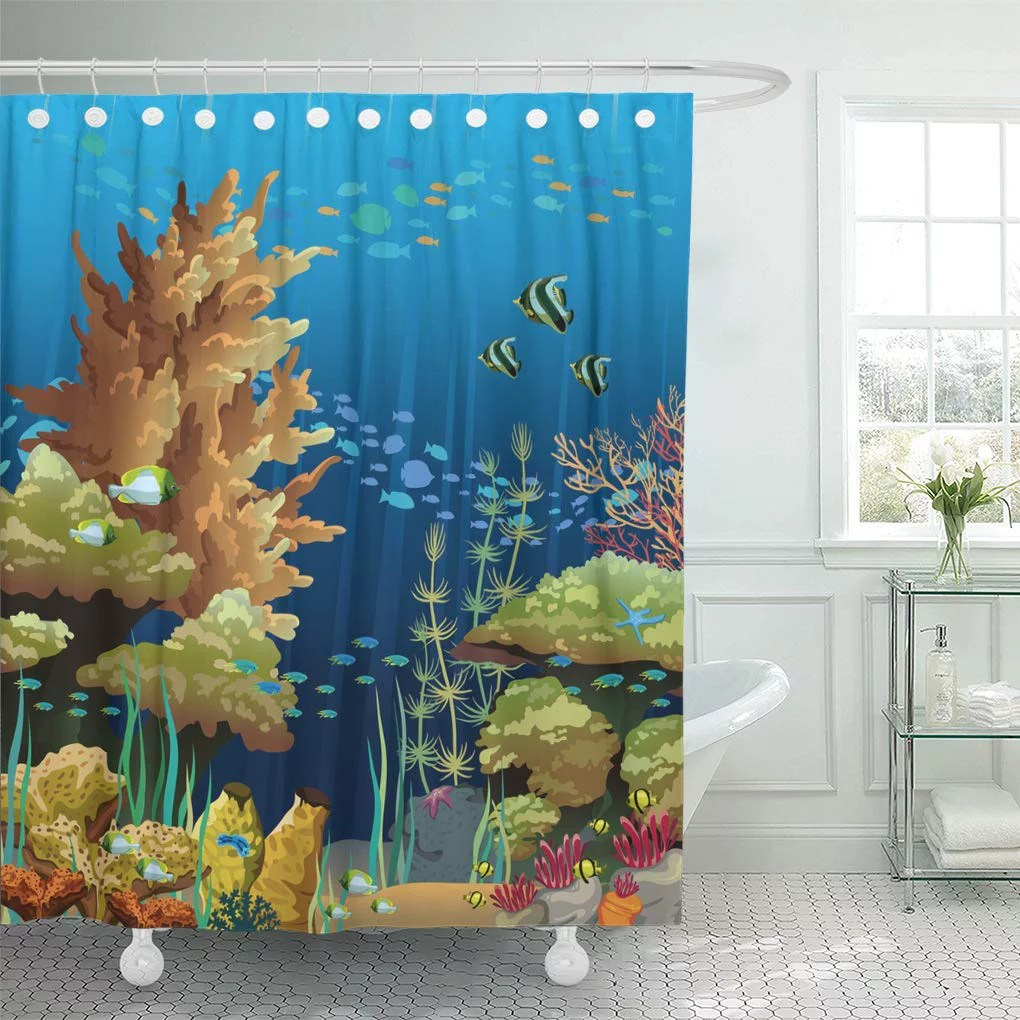 sea animals underwater with coral reef