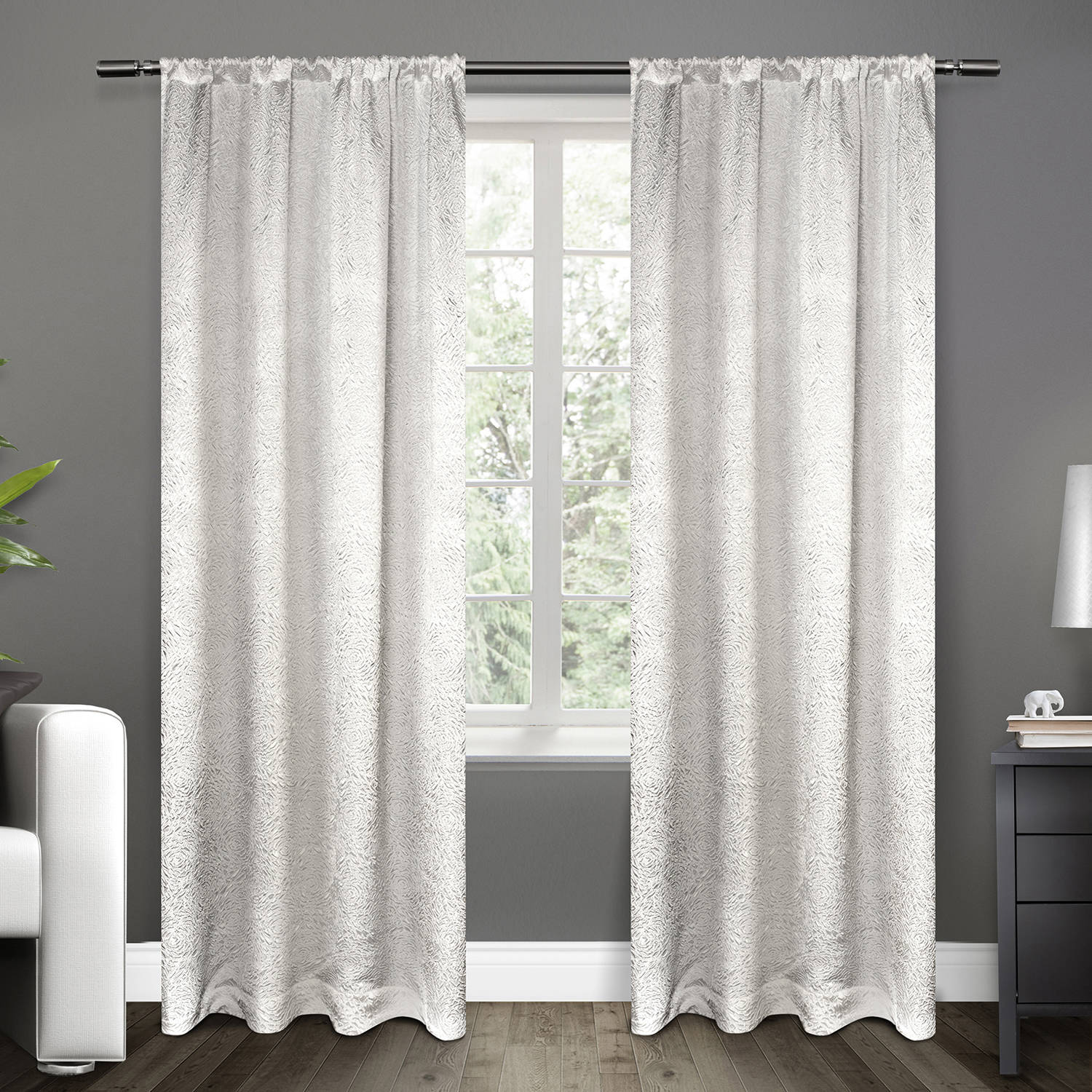 Exclusive Home Embossed Satin Window Curtain Panel Pair With Rod Pocket