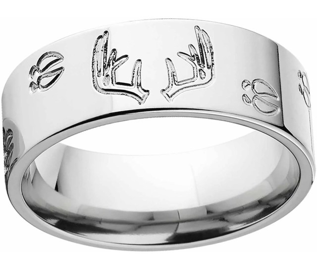 Mens Deer Track And Rack Durable Mm Stainless Steel Wedding Band With Comfort Fit Design Walmart Com