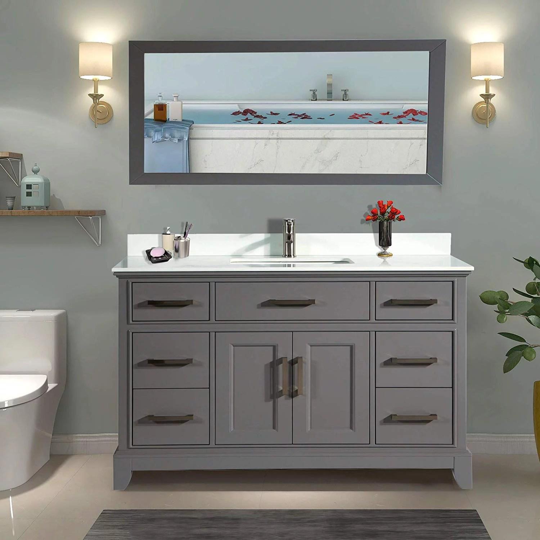 vanity art 60 single sink bathroom vanity combo set 7 drawers 1 shelf super white phoenix stone top under sink cabinet with mirror