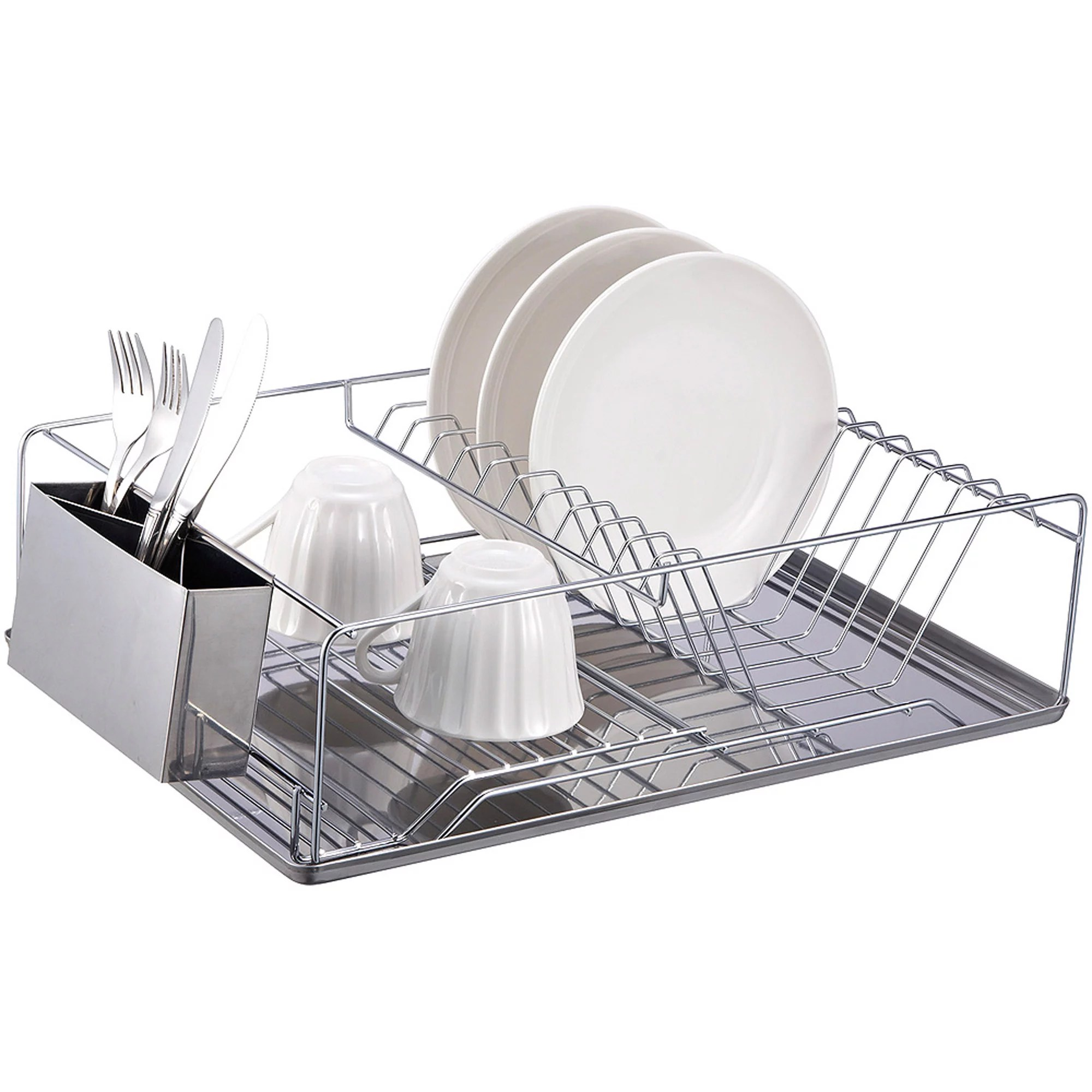 home basics chrome plated steel dish rack with stainless steel tray walmart com