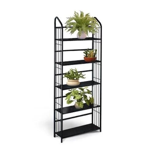 black metal outdoor patio plant stand 5 tier shelf unit 5 tier shelves