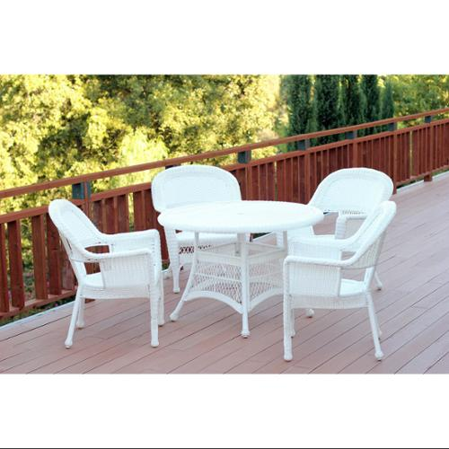 outdoor wicker furniture 5 piece patio set 5-Piece White Resin Wicker Chairs and Table Outdoor Patio