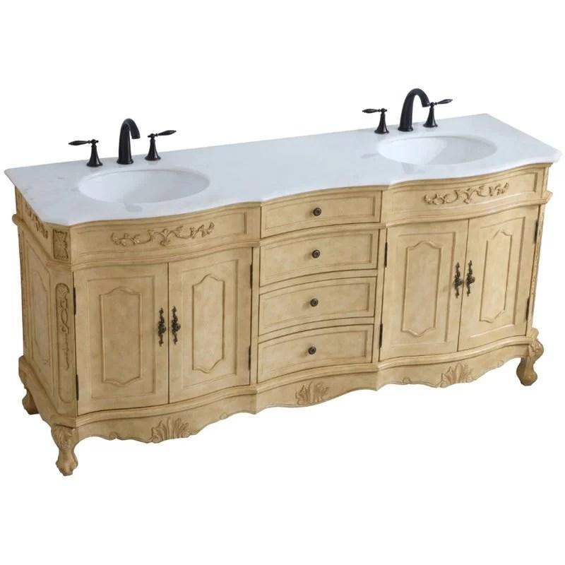 elegant decor danville 72 double marble top bathroom vanity in antique beige