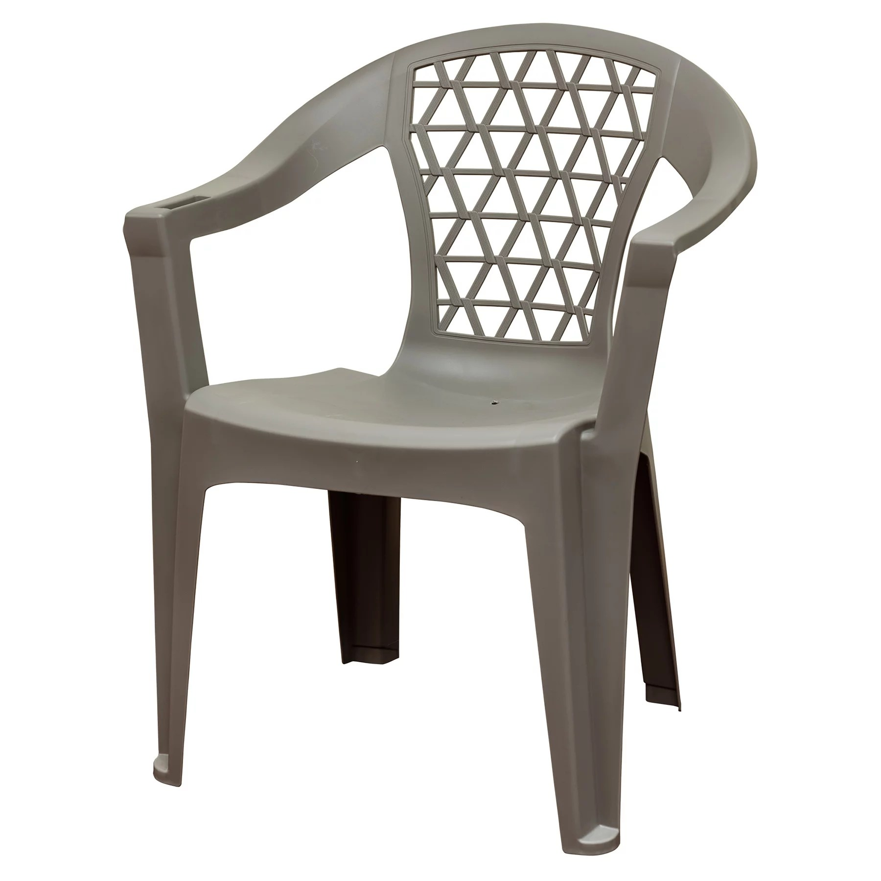 adams penza outdoor resin stack chair with phone holder plastic patio furniture gray