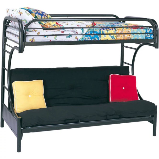 Eclipse Twin Over Futon Metal Bunk Bed Black
