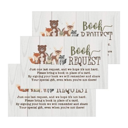 25 Woodland Books For Baby Request Insert Card Boy Or Animals Shower Invitations Invites Cute Bring A Book Instead Of Theme