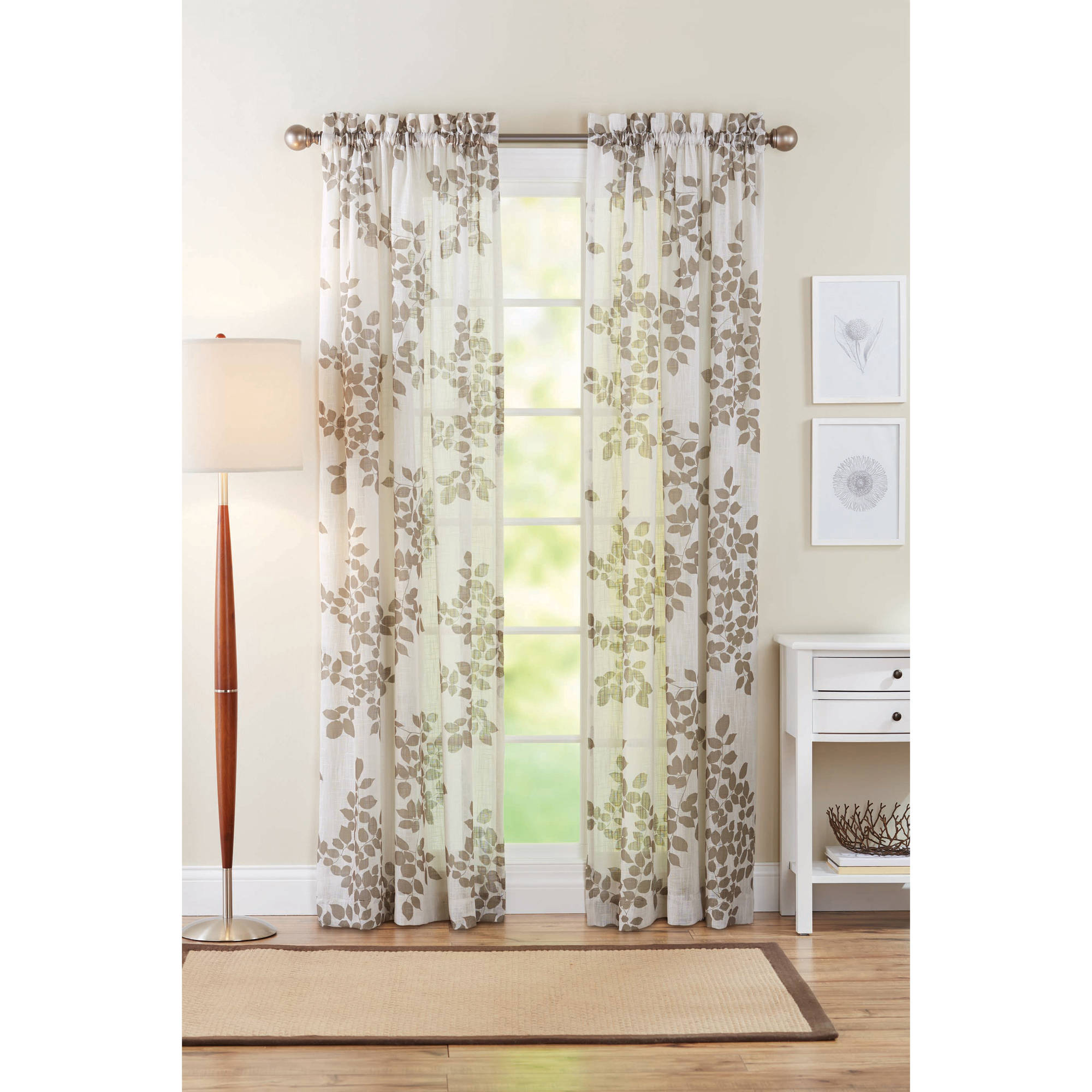 better homes and gardens faux linen leaves polyester curtain panel taupe