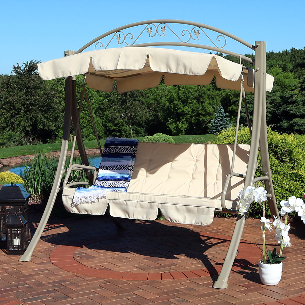 sunnydaze outdoor porch swing deluxe 3 person covered patio swing tilting canopy shade heavy duty powder coated steel frame lawn swing w