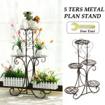 Plant Stand Shelf Elegant Display Metal Plant 2 Tier Stand Shelf Garden Balcony Flower Pot Shelf Rack Holder Bonsai Holder White Plant Containers Accessories Accessories