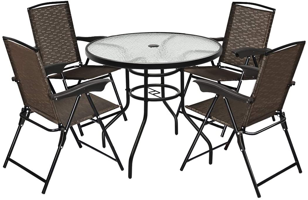 costway 5pcs bistro patio furniture set 4 folding adjustable chairs glass table w hole walmart com
