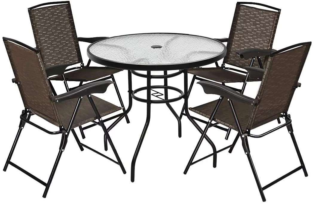 costway 5pcs bistro patio furniture set 4 folding adjustable black brown chairs and glass table w hole