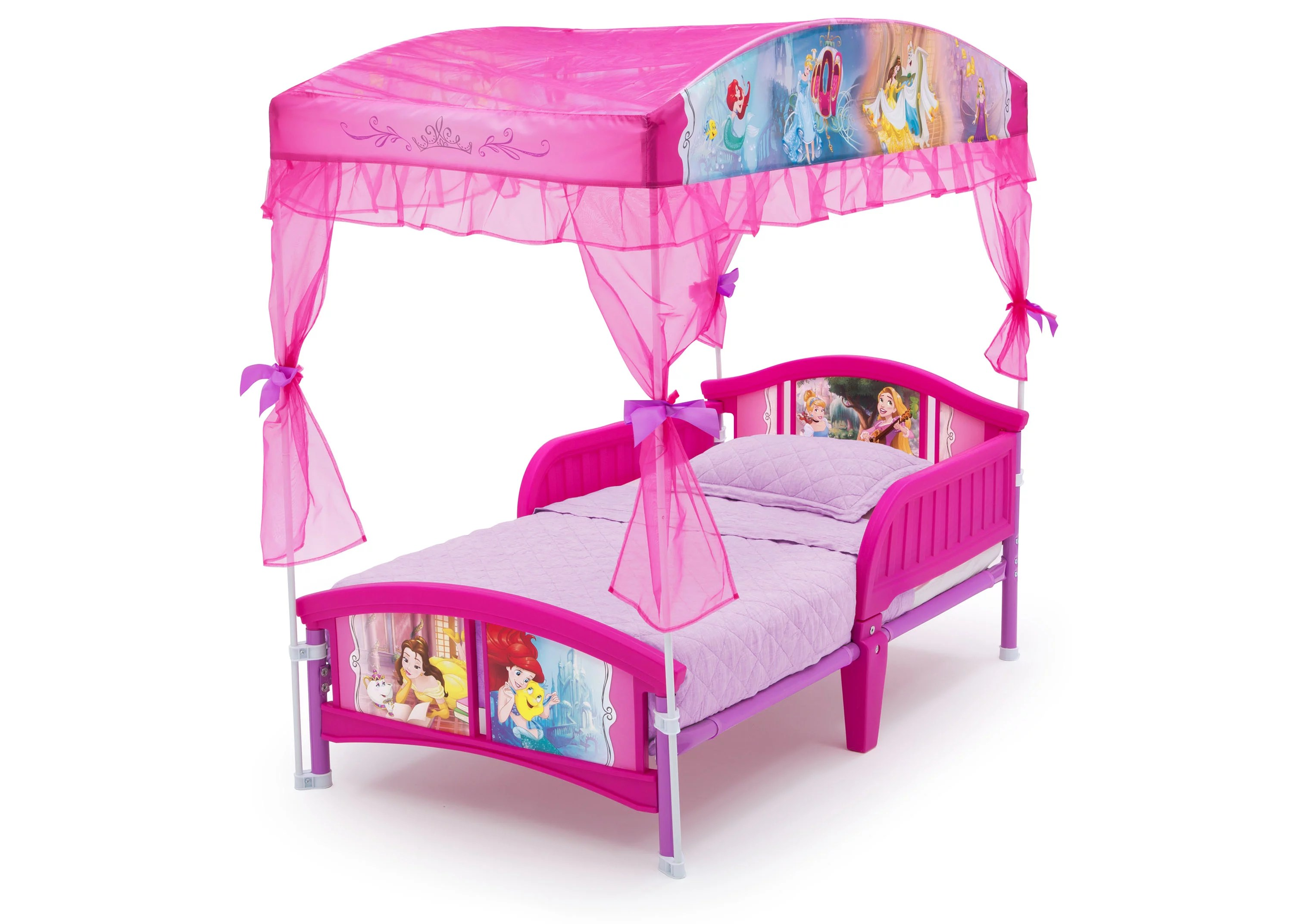 delta children disney princess plastic toddler canopy bed pink
