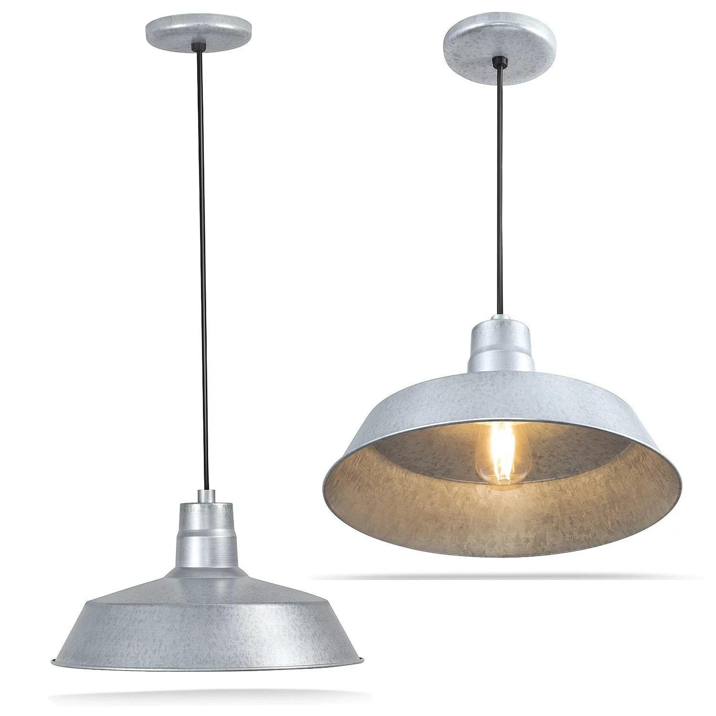 14 inch industrial galvanized pendant barn light fixture on Galvanized Barn Light id=37156