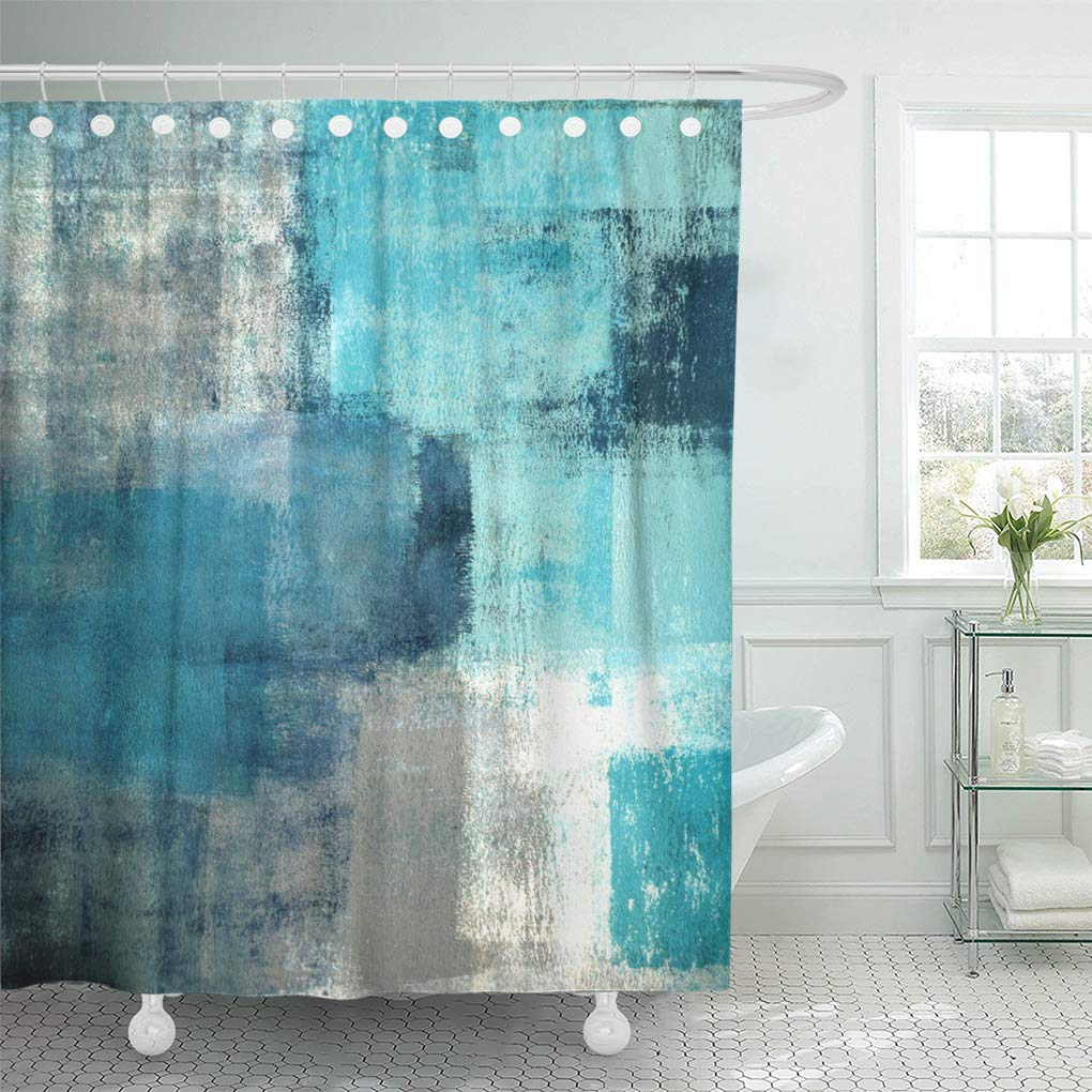 suttom teal gray contemporary turquoise and grey abstract painting white shower curtain 66x72 inch