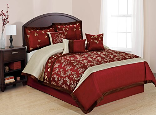 Unique Home 7 Piece Celin Burgundy White Embroidered Leaf