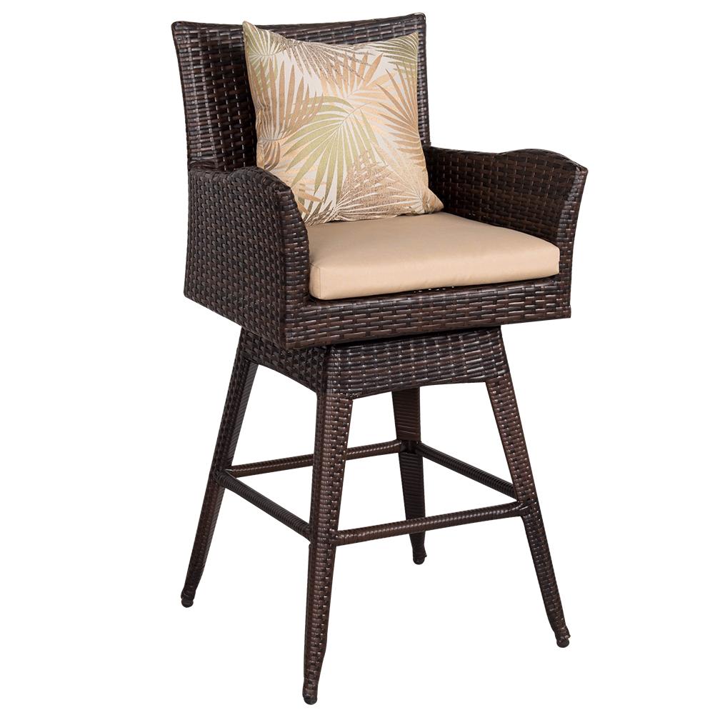 outdoor patio swivel bar stools Sundale Outdoor Patio Garden Wicker Swivel Bar Stool with