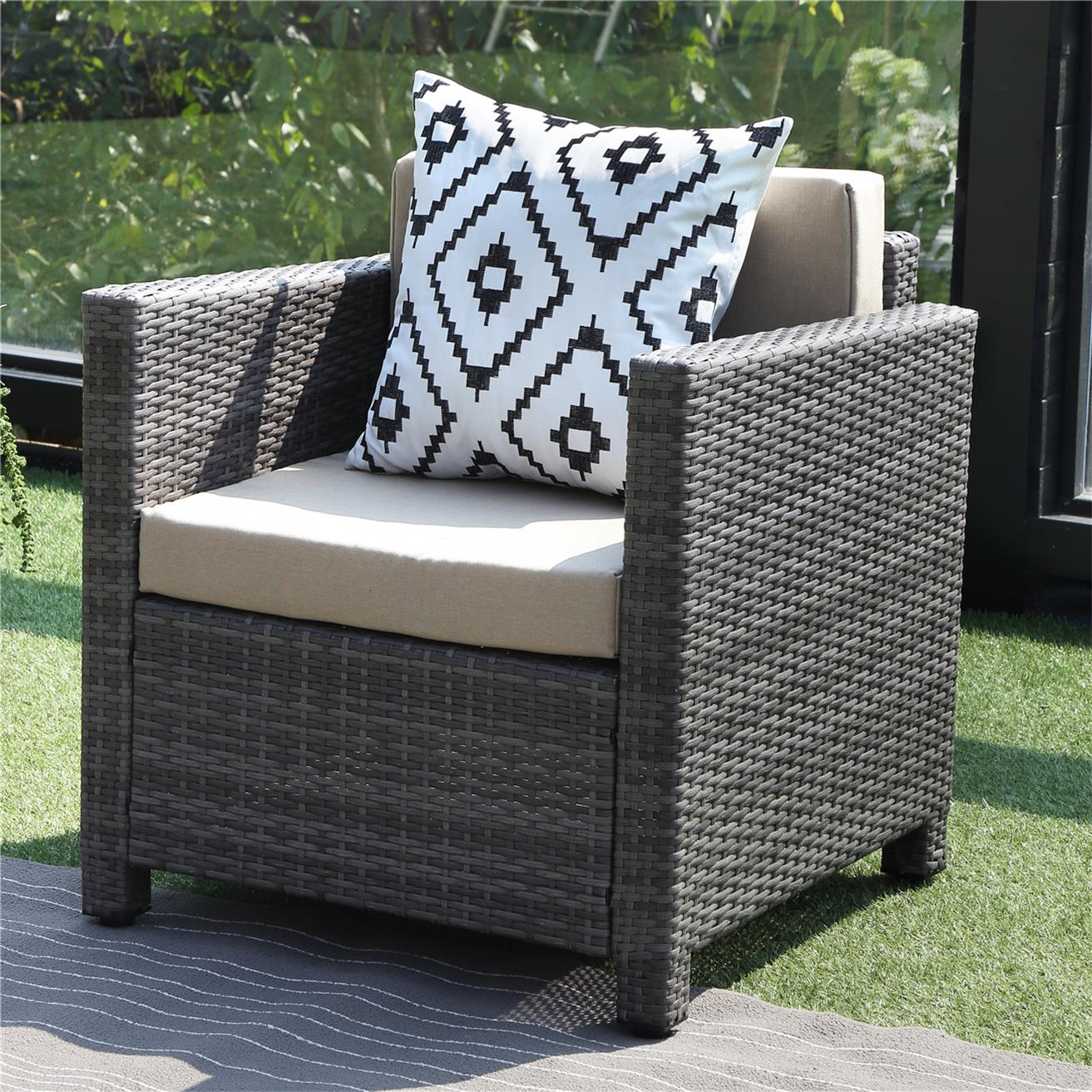 outdoor patio furniture set wisteria lane 4 piece rattan wicker sofa cushioned with coffee table grey