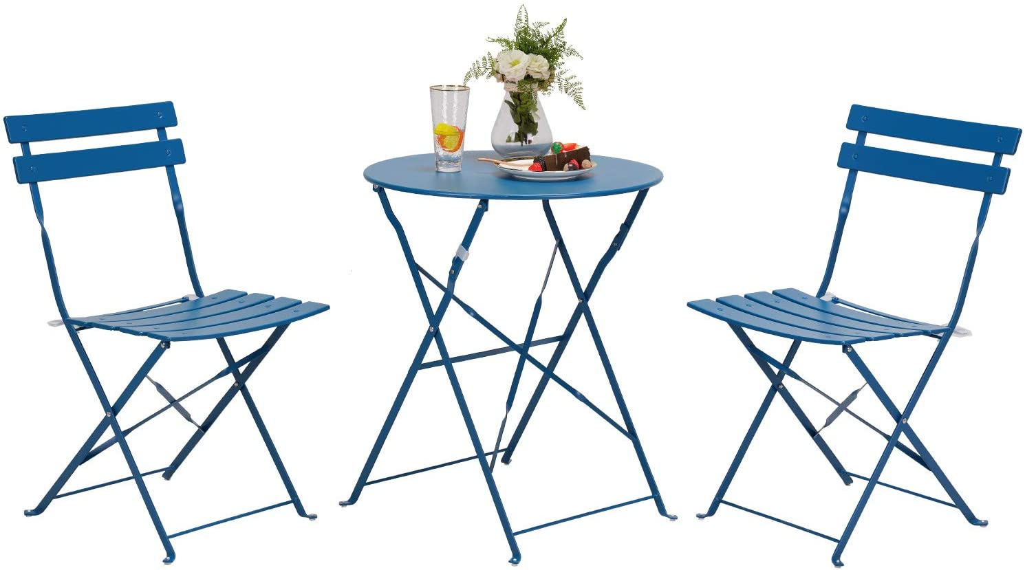 grand patio premium steel patio bistro set folding outdoor patio furniture sets 3 piece patio set of foldable patio table and chairs peacock blue