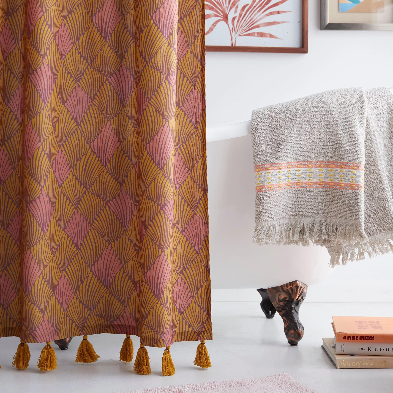 art deco fan shower curtain by drew barrymore flower home walmart com