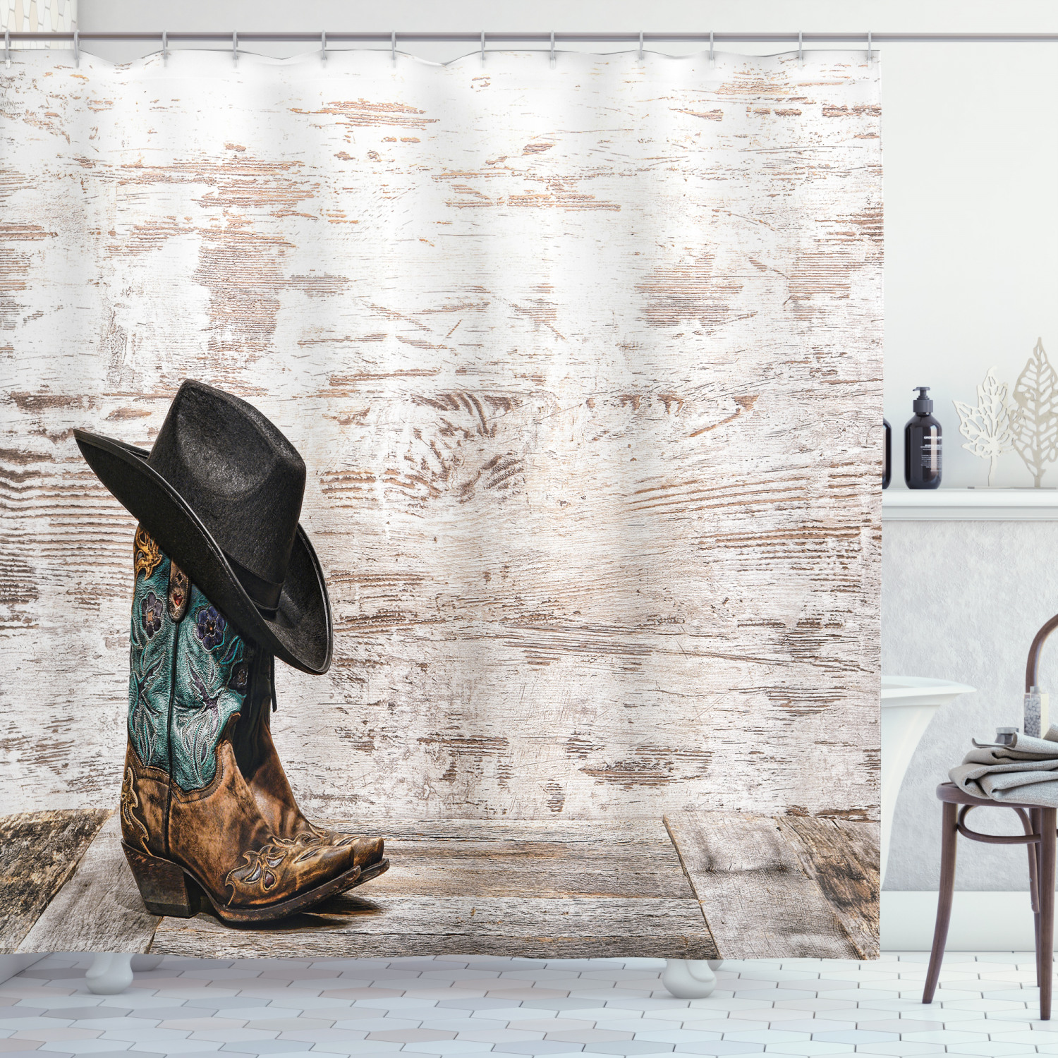 Western Decor Shower Curtain Set Traditional Rodeo Cowboy Hat And Cowgirl Boots In A Retro Grunge Background Art Photo Bathroom Accessories 69w X 70l Inches By Ambesonne Walmart Com Walmart Com