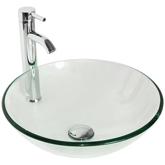 walcut round clear glass bathroom vessel sink bowl without overflow equipped with chrome faucet pop up drain combo