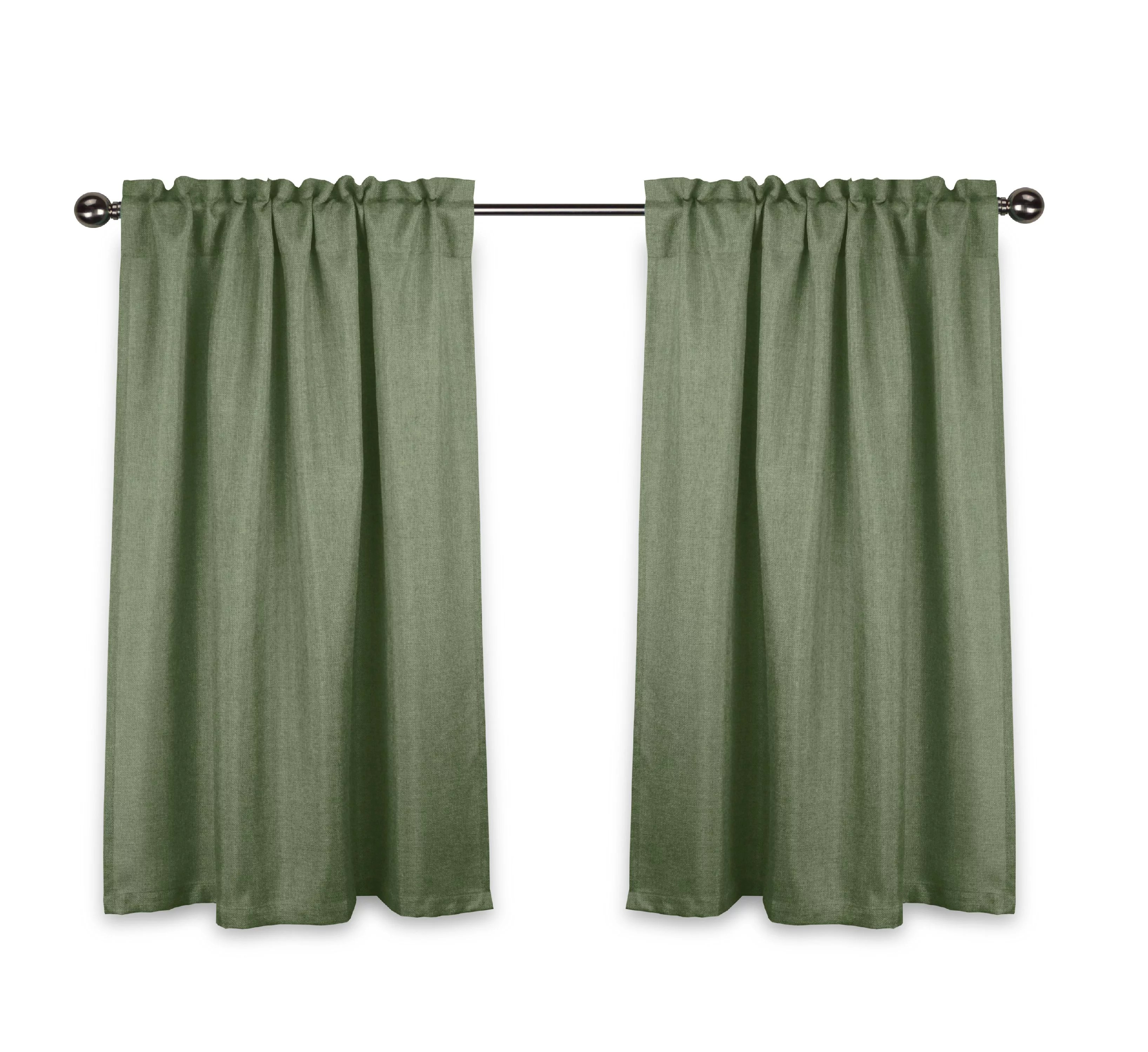 aiking home rod pocket faux linen textured semi sheer 36 inch cafe curtains tier panels for small window set of 2 28 x36 each panel basil