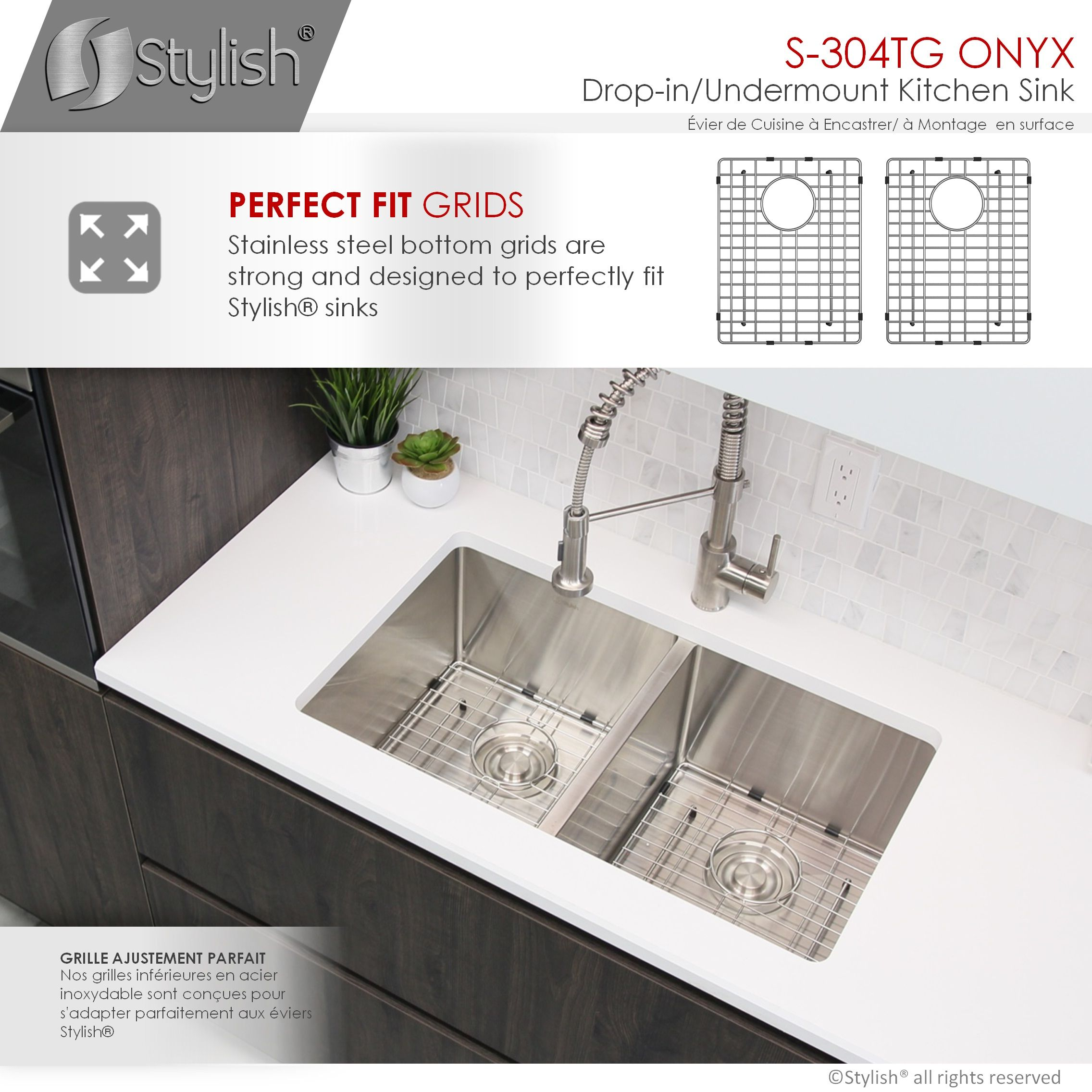 stylish 30 inch double bowl undermount and drop in stainless steel kitchen sink