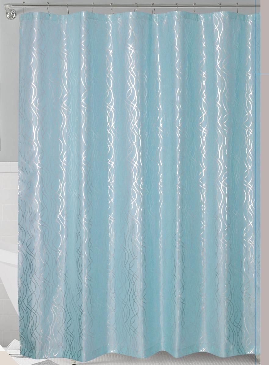 aqua silver metallic cadena de plata faux silk fabric shower curtain with hooks walmart com
