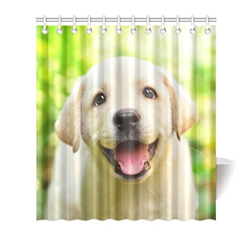 mkhert animal dog waterproof shower curtain decor funny labrador retriever puppy dog fabric bathroom set 66x72 inch