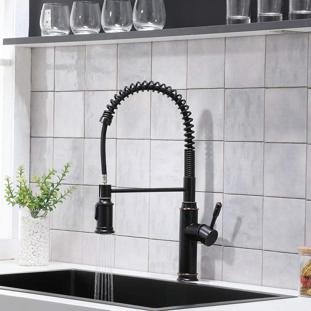 commercial modern sus304 stainless steel kitchen faucets oil rubbed bronze pulldown sprayer spring kitchen sink faucet black walmart com